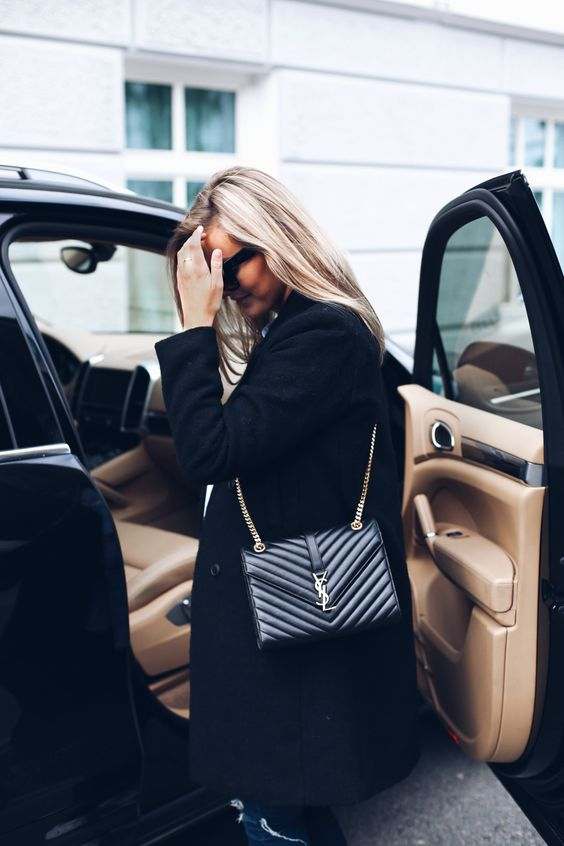 french women style, black bag, SAINT LAURENT
