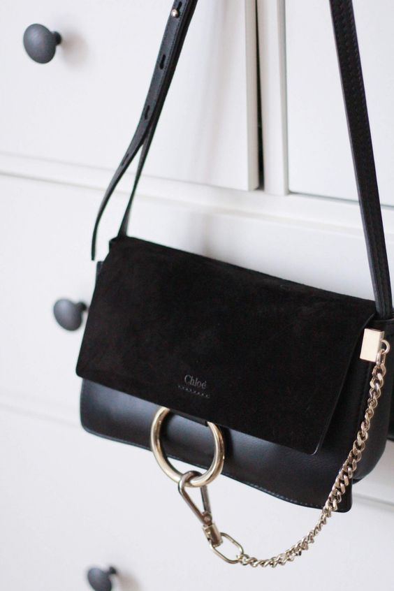 french women style, black bag, chloe bag